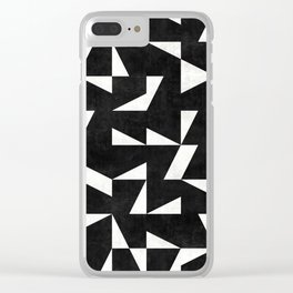 Mid-Century Modern Pattern No.10 - Black and White Concrete Clear iPhone Case