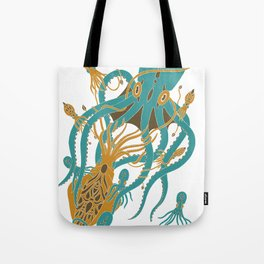 Battle of the Cephalopods Tote Bag