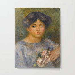 "Auguste Renoir ""Jeune fille aux roses (Young girl with flowers)"" Metal Print"