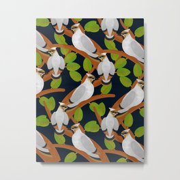 Bohemian waxwing pattern Metal Print