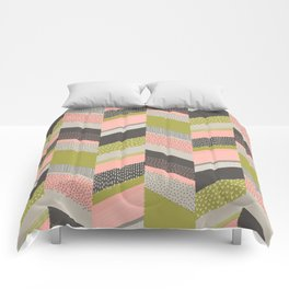 Chevron with Textures / Rose and Green Comforters