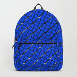 Interweaving square tile made of blue rhombuses with white gaps. Backpack