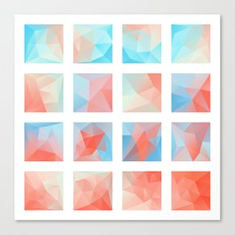 blue pink polygonal Mosaic Canvas Print