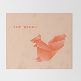 Allergic to Nuts - Origami Orange Squirrel Throw Blanket