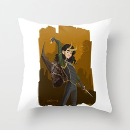 Loki & Crown of Surtur Throw Pillow