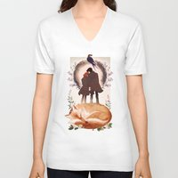 mulder V-neck T-shirts featuring Fable of Mulder and Scully by tumblebuggie