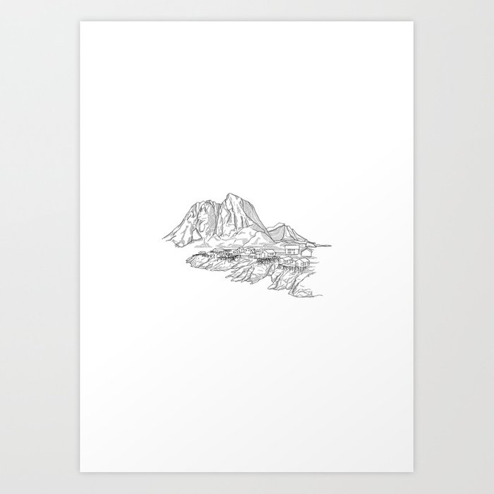 Mountain Series - Lofoten Island (B&W) Art Print