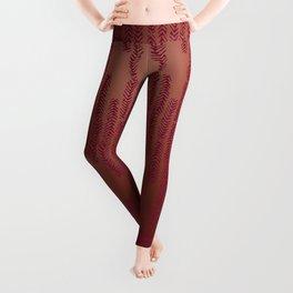 Eye of the Magpie tribal style pattern - dark rose on copper Leggings