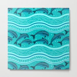 A flock of dolphins in the sea, strips and borders. Marine seamless pattern. Metal Print