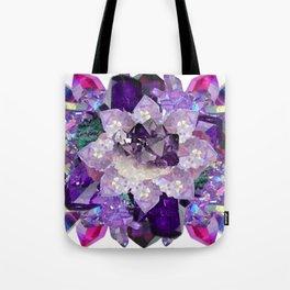 Violet Crystal Explosion Mandala Tote Bag