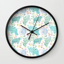 Lazy Manatees Wall Clock