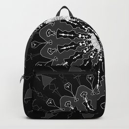 Black and White Floral Spiral Digital Art Backpack
