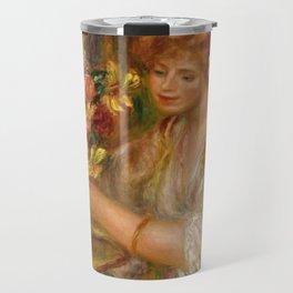 """Auguste Renoir """"Femme Arrangeant Des Fleurs or La Femme Au Bouquet - Andrée"""" Travel Mug"""