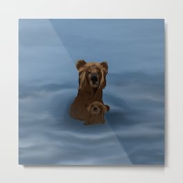 Grizzly Bear Mama and Her Cub Swimming Metal Print