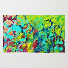 A LITTLE OF THIS - Bright Colorful Abstract Ocean Painting Circle Pattern Magenta Lime Fun Gift Rug