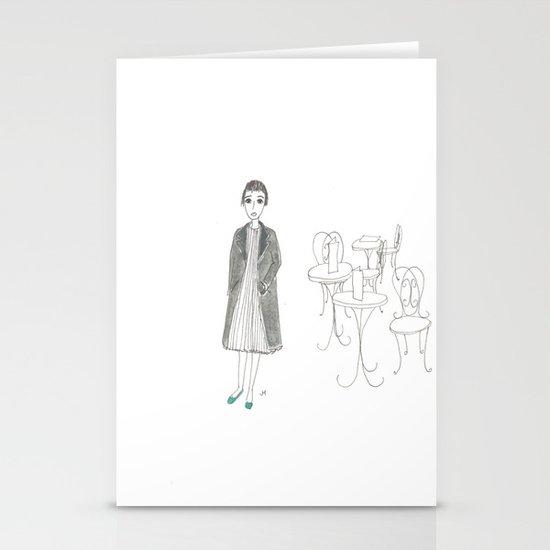 cafe girl Stationery Cards