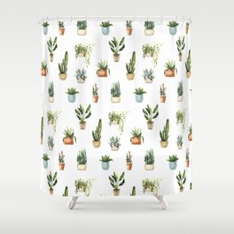 Hand painted teal green orange watercolor tropical floral cactus Shower Curtain