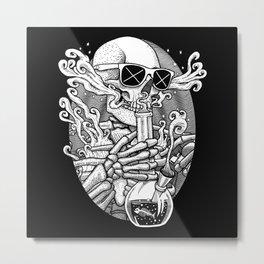 Light It Up - Skeleton Stoner Metal Print