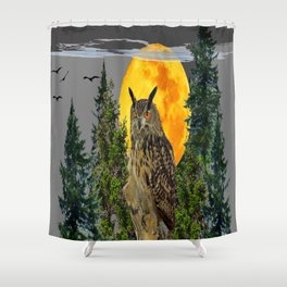 OWL WITH FULL MOON & PINE TREES GREY ART Shower Curtain