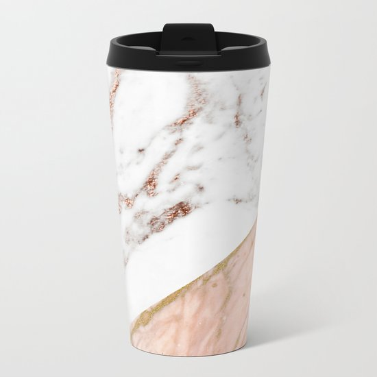 Marble rose gold blended Metal Travel Mug