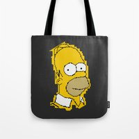 simpson Tote Bags featuring Homer Simpson by Osman SARGIN