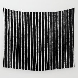 White Line Pattern on Black Wall Tapestry
