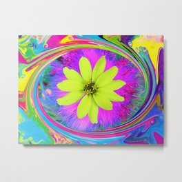 Psychedelic Yellow Zinnia on a Groovy Twirl Metal Print