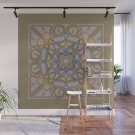 Gender Equality Mandala - Taupe Olive Wall Mural