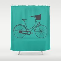 bicycle Shower Curtains featuring Bicycle by arzu sendag