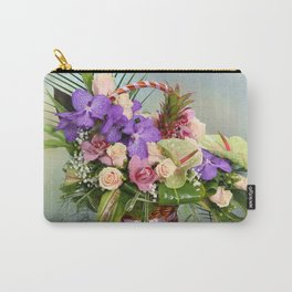 Bouquet with colorful flowers in basket Carry-All Pouch