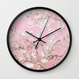 Vincent Vang Gogh Baby Pink Almond Blossoms  Wall Clock
