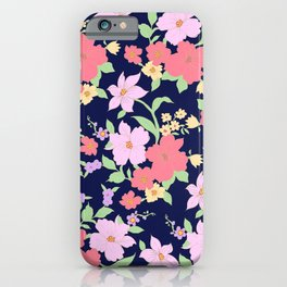 Elegant navy blue gold pink neo mint floral iPhone Case
