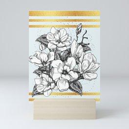 Magnolia Flower Line Art Floral Graphic Print Mini Art Print