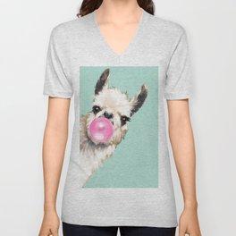 Bubble Gum Sneaky Llama in Green Unisex V-Neck