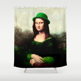 Lucky Mona Lisa - St Patrick's Day Shower Curtain