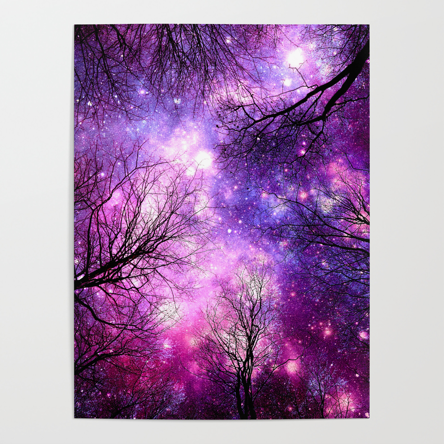 Black Trees Pink Purple Space Poster By Vintageby2sweet Society6