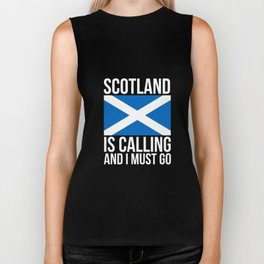 Funny Scottish Tshirt Scotland is Calling and I Must Go Biker Tank