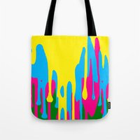 jewish Tote Bags featuring The paint has left the building by Brown Eyed Lady