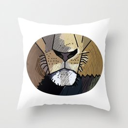 Lion Mouth Drawing Throw Pillow