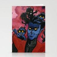 nightcrawler Stationery Cards featuring Kurt & Bamfs by Fiendish Thingy Art
