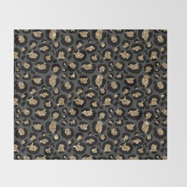 Black Gold Leopard Print Pattern Throw Blanket