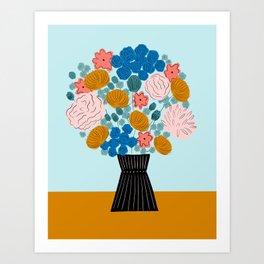 Modern flowers in vase Art Print