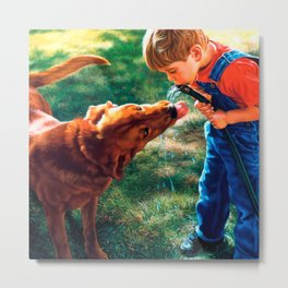 A Boy and his Dog Water Hose Thirst Colorful Metal Print