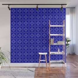 Dark Earth Blue and White Interlocking Square Pattern Wall Mural