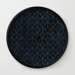 Gold Art deco on Navy ink Wall Clock