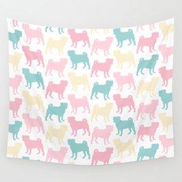 Pastel Pugs Pattern Wall Tapestry