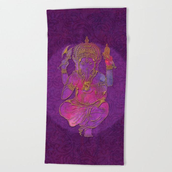Ganesha hindu god watercolor gold purple art Beach Towel