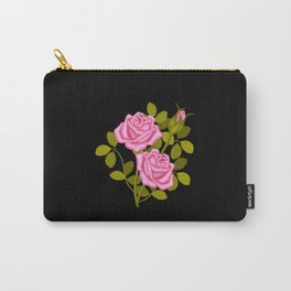 Painted Pink Roses Carry-All Pouch