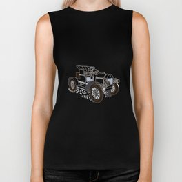 retro car painted in black and white color Biker Tank