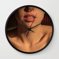 mouth Wall Clocks featuring mouth by gorkarcophoto
